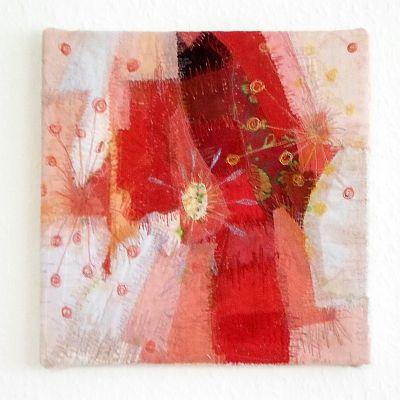 Eckig rot III Applikation / Mischtechnik 29 x 29 cm