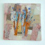 Landschaft braun-blau I Applikation / Mischtechnik 34 x 34 cm