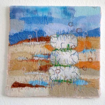 Landschaft braun-blau II Applikation / Mischtechnik 34 x 34 cm