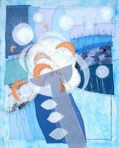 Komposition in Blau Applikation 66 x 82 cm