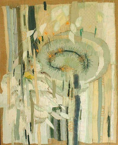 Komposition in Grün Applikation 66 x 82 cm