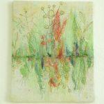 Spiegelung grün II Applikation / Mischtechnik 24 x 30 cm