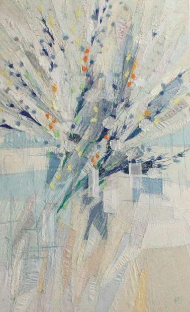 Strauß hellblau Applikation 45 x 74 cm