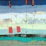 Landschaft II Applikation / Maschinenstickerei 36 x 53 cm