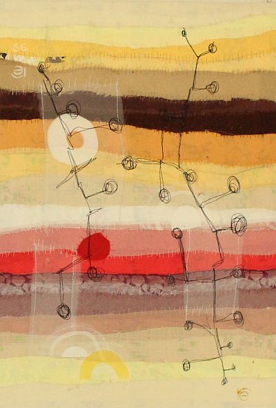 Landschaft III Applikation / Maschinenstickerei 36 x 53 cm