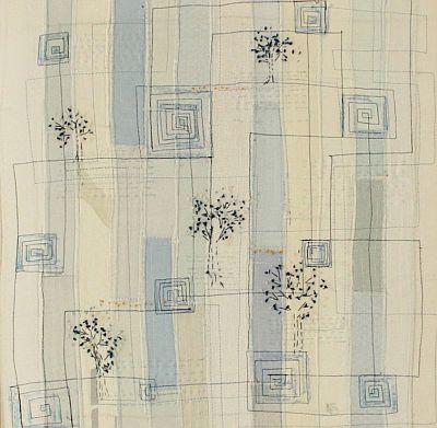 Landschaft in Blau I Applikation 42 x 42 cm