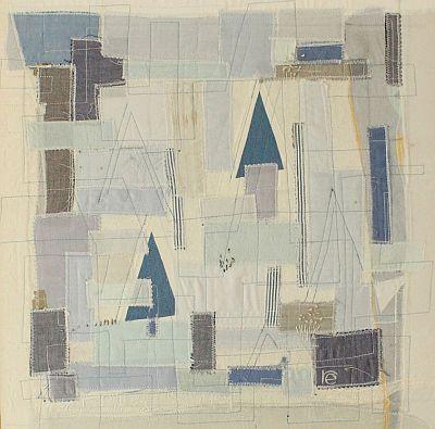 Landschaft in Blau II Applikation 42 x 42 cm