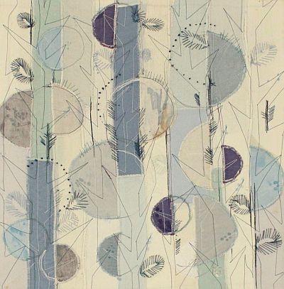 Landschaft in Blau III Applikation 42 x 42 cm